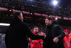 Head coach Diego Simeone of Club Atletico de Madrid greets Head coach Luis Enrique of FC Barcelona during the Copa del Rey Semi-final First Leg match between Atletico Madrid and FC Barcelona at Vincente Calderon on February 1, 2017 in Madrid, Spain.
