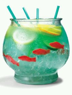 Fish bowl drink. Gonna make one of these when I go camping in carlsbad