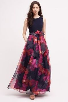 Love the fitted top with fuller patterned skirt-Epanoui Gown by Eliza J… Long Gown Dress, Lehnga Dress, Long Gowns, Chiffon Maxi Dress, Lehenga, Indian Gowns Dresses, Evening Dresses, Dresses Dresses, Eliza J Dresses