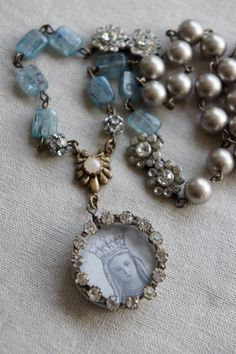 Vintage assemblage necklace Virgin Mary prayer card rhinestones gemstones assemblage jewelry - Crowned Glory by French Feather Designs.