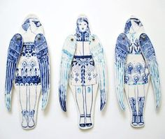 Ceramics by Sonia Pulido Ceramic Figures, Clay Figures, Ceramic Painting, Ceramic Art, China Painting, Paper Dolls, Art Dolls, Paper Puppets, Whimsical Fashion