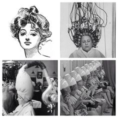 Hairdressing has come such a long way! Interesting to see how technology has changed! Top right- how they used to perm the hair! Bottom left- old hair dryers! So different from today hairdressing world!