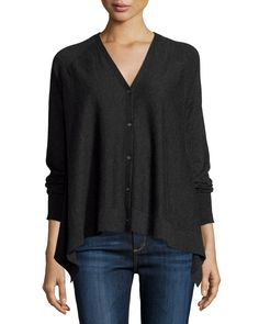 Superfine Button-Front Draped Cashmere Cardigan, Grey - Neiman Marcus Cashmere Collection