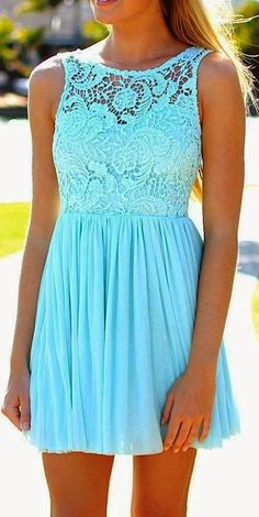 Sleeveless blue dress.