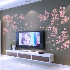 Wall Decals & Stickers Plum Blossom Flower Viny Wall Decal Sticker Art Diy Living Room Home Decor Mural & Garden Wall Decals For Bedroom, Bedroom Murals, Nursery Room Decor, Rooms Home Decor, Diy Home Decor, Bedroom Tv, Kids Bedroom, Flower Wall Stickers, Wall Stickers Murals
