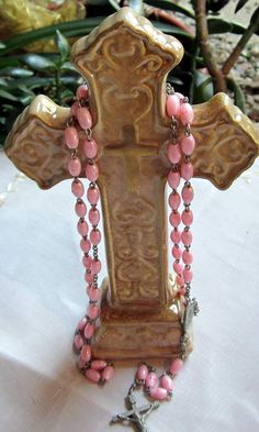 Vintage Pink Plastic Beaded  Child's Rosary by PendragonFarm, $10.00