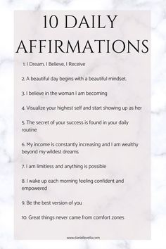 10 Daily Positive Affirmations to live by. Everyday i write down an affirmation. Here are ten of my favourite positive affirmations to keep you motivated and reach your goals # Parenting indiretas 10 Daily Positive Affirmations Natural Parenting, Co Parenting, Parenting Quotes, Daily Positive Affirmations, Positive Quotes, Motivational Words, Good Advice, Beautiful Day, Quotes To Live By
