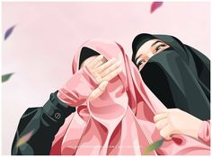 Cartoon Pics, Girl Cartoon, Hijab Drawing, Anime Girl Drawings, Pencil Drawings, Love Cartoon Couple, Islam Women, Islamic Cartoon, Hijab Cartoon