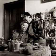 Portrait of Frida and Diego Rivera by Emmy Lou Packard (1914-1998). 1941; printed later.