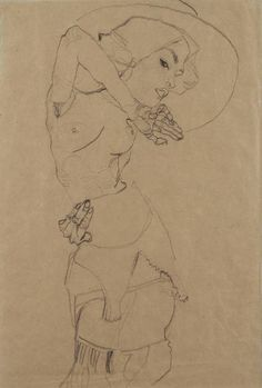 Egon Schiele - Gerti Schiele in Large Hat, 1910