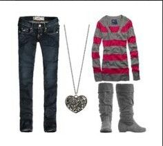 Holister jeans striped shirt grey boots