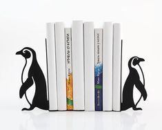 Bookends -Penguins- FREE SHIPPING stylish functional and sturdy decor to hold your books