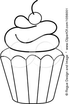 Black and White Cupcake Outline - Bing Images Applique Templates, Applique Patterns, Applique Designs, Embroidery Applique, Embroidery Designs, Cupcake Coloring Pages, Colouring Pages, Coloring Books, Cupcake Outline