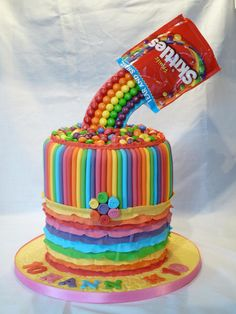 RAINBOW+GRAVITY+SKITTLE+CAKE+-+Cake+by+Grace's+Party+Cakes