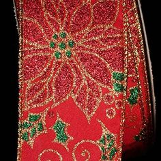 Red Glitter Poinsettia Wired Craft Ribbon 2 x 40 Yards * Want to know more, click on the image.