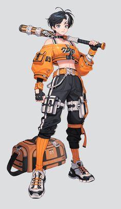 ArtStation - techwear, P. beon Female Character Design, Character Design References, Character Design Inspiration, Character Concept, Character Art, Anime Character Drawing, Character Reference, Cyberpunk Anime, Cyberpunk Character