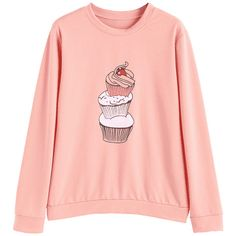 Cupcake Graphic Sweatshirt Pink S (145 GTQ) ❤ liked on Polyvore featuring tops, hoodies, sweatshirts and shirts