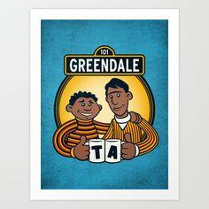 Greendale Street Art Print by Matthew J Parsons - $15.00