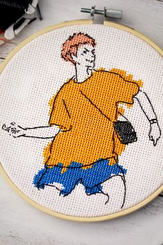 Funny Embroidery, Simple Embroidery, Hand Embroidery Designs, Embroidery Patterns, Cross Stitching, Cross Stitch Embroidery, Cross Stitch Patterns, Modele Pixel Art, Anime Crafts