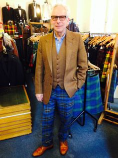 One of our recent bespoke outfits: tartan trews, tweed jacket and waistcoat with peacock feather lining. All available at our showroom.