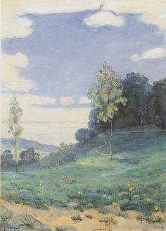 Paysage avec deux petits arbres, huile sur toile de Ferdinand Hodler (1853-1918, Switzerland)