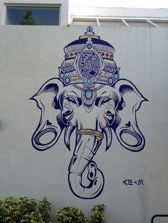 Possible ganesh tattoo Wall Drawing, Art Drawings, Arte Ganesha, Elefante Tattoo, Elefante Hindu, Ganesh Tattoo, Hindu Art, Street Art Graffiti, Hamsa