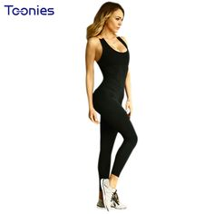 Fitness Rompers Women Jumpsuit Summer 2017 New Fashion Sleeveless Sexy Backless Deep Collar Bodycon black Long Pant Jumpsuits