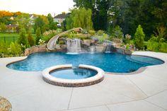 Bahal Project - Aquatic Artists designed and built Pool House Designs, Backyard Pool Designs, Swimming Pools Backyard, Ponds Backyard, Swimming Pool Designs, Pool Landscaping, Backyard Waterfalls, Garden Ponds, Koi Ponds