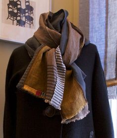 Welcome everyone!  South Street Linen is unveiling their new line of handmade linen scarves.  We just got back from a buying trip in New York City. The selection of materials there was dreamy. We couldn't wait to get back to Maine to start designing with our new fabrics.