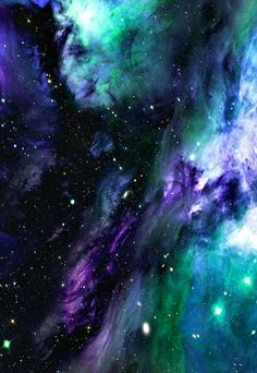 Galaxy: purple, blue and green