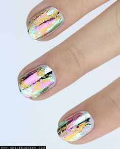 oil spill nails - Amazing chrome nails with foil
