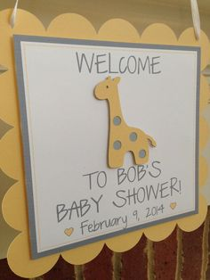 Giraffe BABY SHOWER Banner or NAME Yellow by OnceUponATwineDesign.... ** Discover even more at the image  Learn more at  https://www.etsy.com/listing/178377078/giraffe-baby-shower-banner-or-name?ref=sr_gallery_7&ga_search_query=Giraffe+baby+shower+&ga_ship_to=US&ga_search_type=all&ga_view_type=gallery