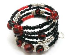 Red and Black Beaded Coil Bracelet by RandRsWristCandy on Etsy