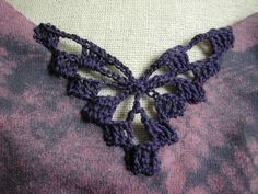"""How to embellish with crochet inserts. going to try this technique on some """"V""""necks that are too low"""