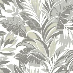 A bouquet of tropical foliage in soft shades of gray and blue set on a white ground adds depth and sophistication to a neutral color scheme. A sophisticated palm leaf wallpaper design by York that would look amazing in a breakfast nook or powder room! Motif Tropical, Tropical Decor, Tropical Leaves, Tropical Interior, Palm Leaf Wallpaper, Wallpaper Roll, Pattern Wallpaper, Coastal Wallpaper, Botanical Wallpaper