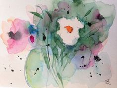 "Aquarell, Blumen , Aquarellpostkarte "" Blumenstrauss ""Unikat 14,8 x 10,6 cm , in Antiquitäten & Kunst, Malerei, Aquarelle   eBay!"