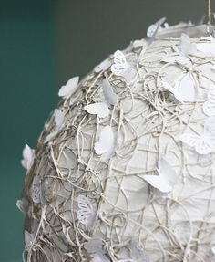 white butterflies and rope lantern lampshade