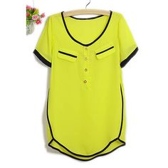Graceful Short Sleeve Chiffon Women's Summer Blouse, YELLOW, M in Blouses | DressLily.com