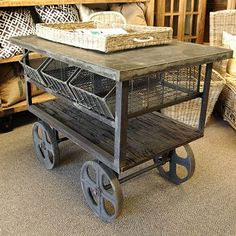 Old Rolling Cart. Could you see this used in a craft room filled up with goodies? YES!
