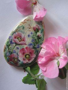 Кулончик для приятного настроения - розовый,мак,маки,авторская ручная работа