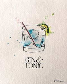 Gin & Tonic Fine Art Print by Original Pen and Ink Illustration by Sadhvi . - Caro Kapunkt - - Gin & Tonic Fine Art Print by Original Pen and Ink Illustration by Sadhvi . Watercolor Illustration, Watercolor Paintings, Vintage Illustration, Cocktail Illustration, Art Sketches, Art Drawings, Tattoo Sketches, Ink Illustrations, Gin And Tonic