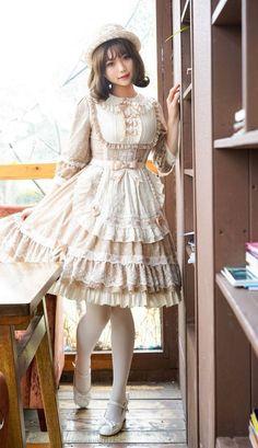 Fantastic Wind -Milky Way Star Chips- Sweet Classic Lolita Apron and Cover-up Dress,Lolita Dresses, Harajuku Fashion, Kawaii Fashion, Lolita Fashion, Cute Fashion, Estilo Lolita, Lolita Mode, Mode Kimono, Japanese Street Fashion, Moda Fashion