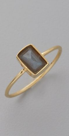 """Jacquie Aiche    Rectangle Bezel Waif Ring  his gold-vermeil ring features a bezel-set labradorite crystal.    * Crystal is 1/4"""" (0.5 cm) wide.  * Made in the USA."""