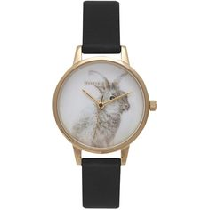 Olivia Burton OB15WL57 Women's Woodland Bunny Faux Leather Strap... (130 AUD) ❤ liked on Polyvore featuring jewelry, watches, dial watches, stainless steel wrist watch, black and white watches, water resistant watches and bunny jewelry