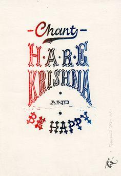 Chant Hare Krishna. Lino-cut lettering, 2015 on Behance