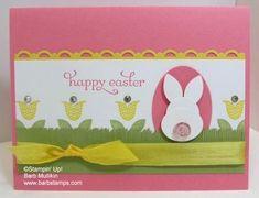SU! Punch art bunny, Bright Blossoms stamp set; Pretty in Pink, Daffodile Delight, Pear Pizzaz (retired) card stock - Barb Mullikin