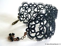 Filigree Lace Tatted Bracelet Cuff Vintage Feel - MARRAKESH NIGHT - made to order. €21.00, via Etsy.