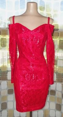 Vintage 80s RED Lace SWEETHEART Mini Party Dress sz 7 Sexy Avant Garde Boned off Shoulder 7/8