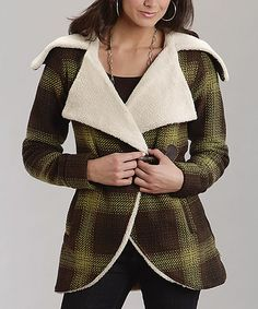 Take a look at this Chocolate Plaid Wool Jacket - Women on zulily today!
