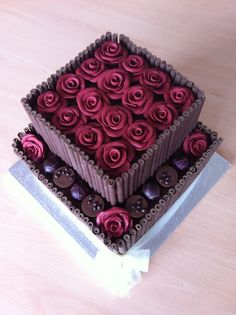 Chocolate fudge cake and fondant roses, and a few of the birthday girl's favourite chocolates